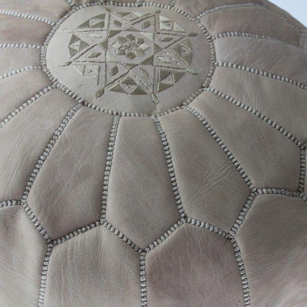 Pouf marocain en peau de chèvre teintée Naturelle