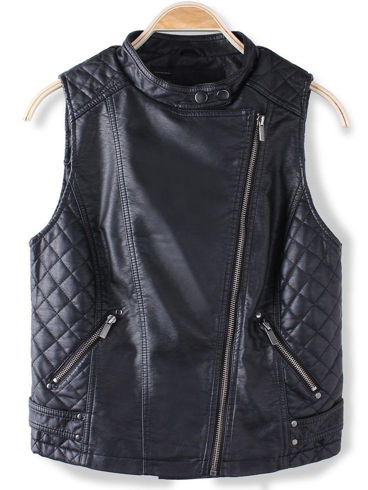 nice Black Sleeveless PU Leather Vest Jacket Outerwear