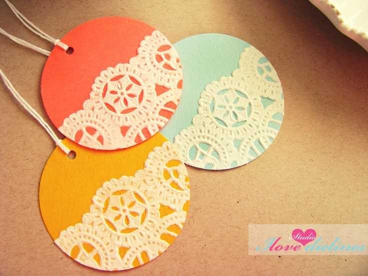 ON SALE - Vintage Doilies Gift Tags Colorful - Set of 10. $4.00, via Etsy.
