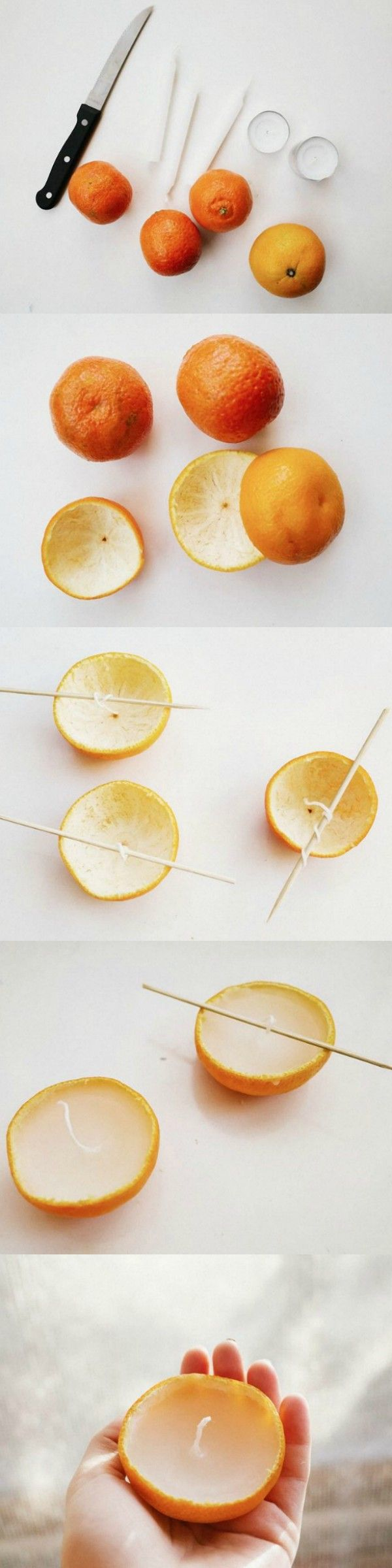 Make these beautiful candles from oranges. What a wonderful addition to the festive table! #diy #christmas #candles