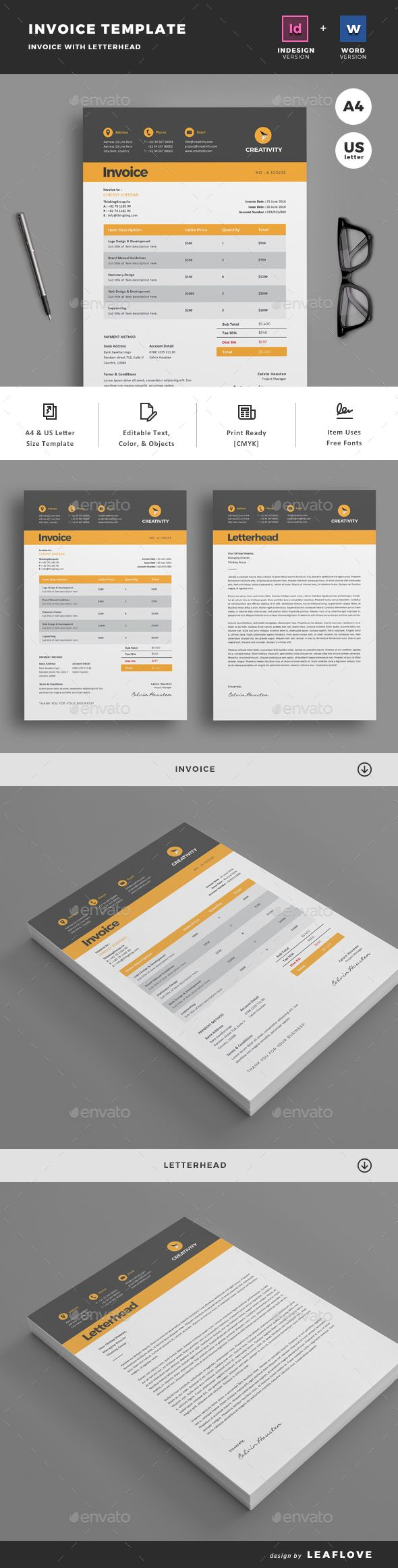 Invoice by LeafLove Clean Invoice Template. This layout is suitable for any project purpose. Very easy to use and customise. .........................