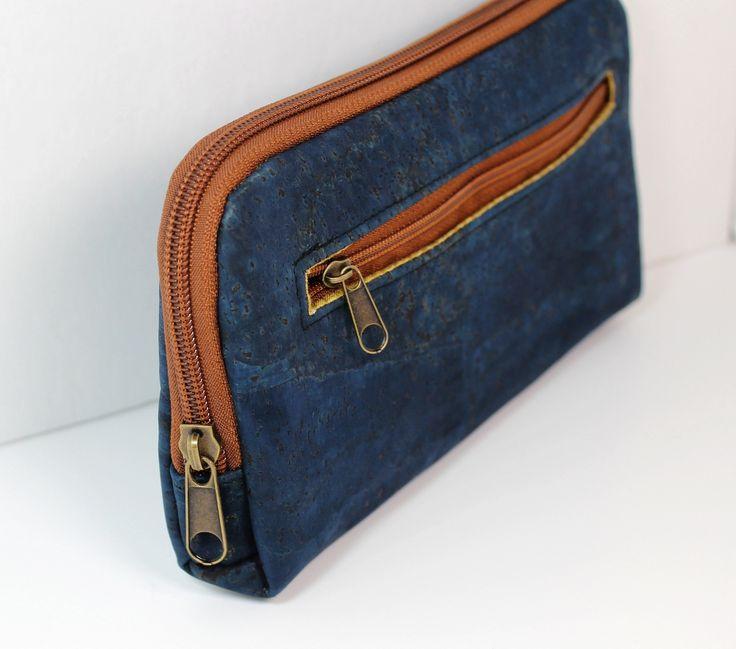Navy Cork 'leather' fabric zip around wallet