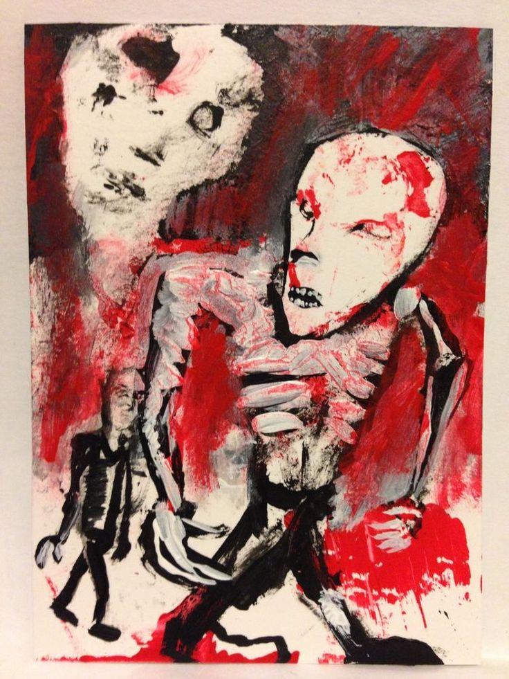 """EBOLA ZOMBIES #54 Acrylic original  ,ACEO  jack larson 3.5""x2.5""  #Abstract"