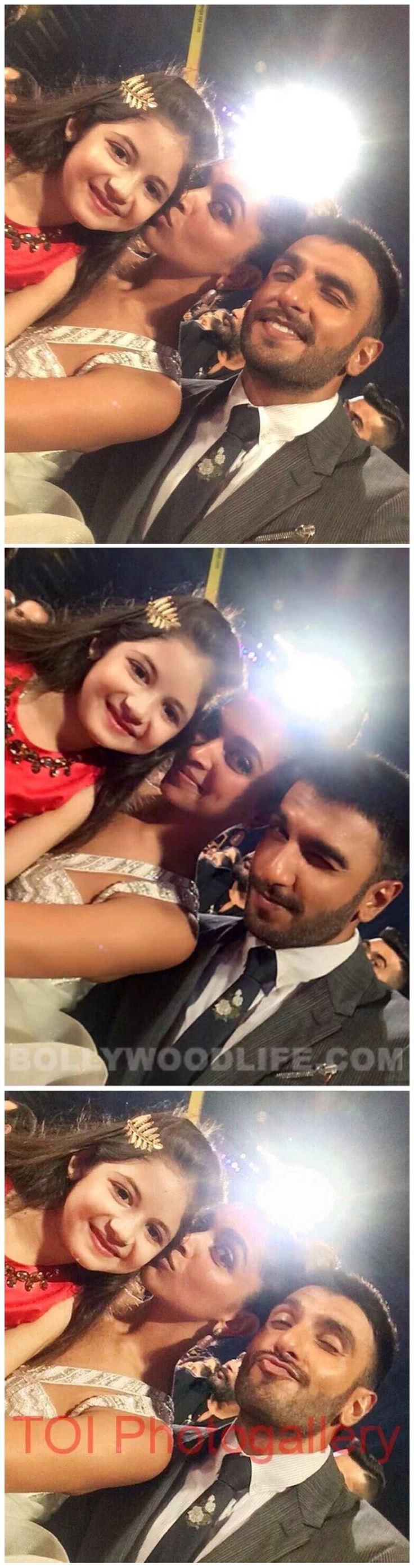 OmgDeepika and Ranveer with the little girl from Bajrangi Bhaijaan! So cute!!!!❤️❤️❤️