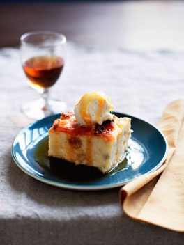 Bread and Sauternes pudding with cinnamon and apple caramel.    This pudding has no butter in it but otherwise it's very similar to bread and butter pudding. Serve the pudding with a glass of Sauternes for good measure.    Click the image to be taken to the recipe.