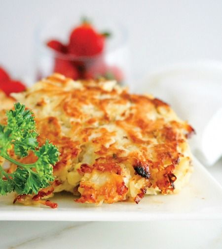 Chicken Hash Browns made with shredded chicken and shredded white sweet potatoes and herbs.