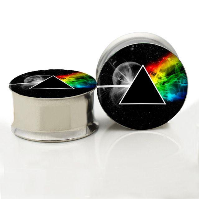 316L Surgical Steel Unthreaded Pink Floyd Prism Ear Gauge Plug And Tunnel Ear Stretcher Expander 6mm-20mm Ear Plug Piercing