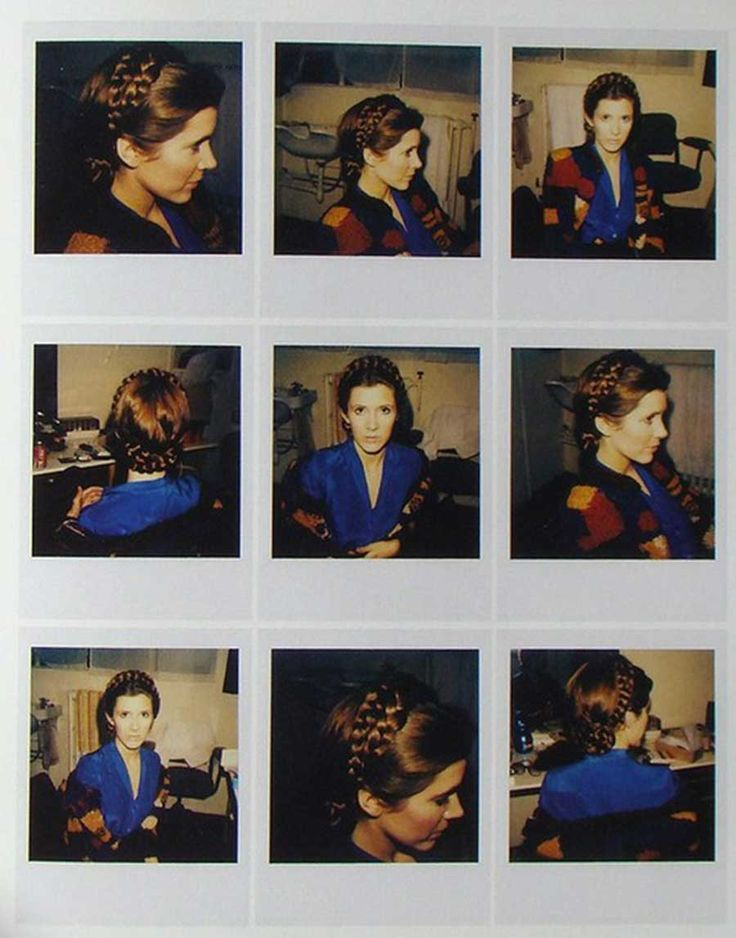 Continuity polaroids of Carrie Fisher's hair during the filming of The Empire Strikes Back