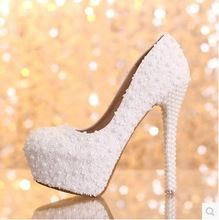 New arrival lace pearl ultra high heels platform bridal shoes woman princess white flower wedding shoes women pumps(China (Mainland))