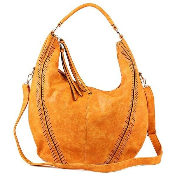 Tassels Hollow Out Bag (78 BAM) ❤ liked on Polyvore featuring bags, handbags, orange bag, tassel bag, tassel handbags, tassel purse and orange purse
