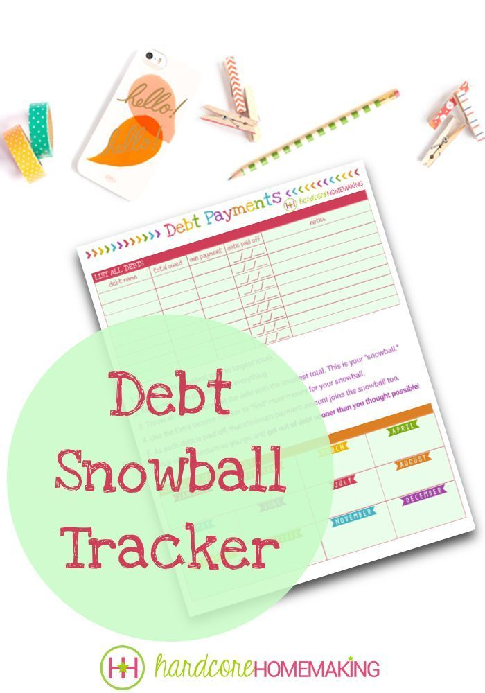 "Debt Snowball Tracker printable - This Dave Ramsey style ""snowball""  sheet will help you get out of debt sooner."