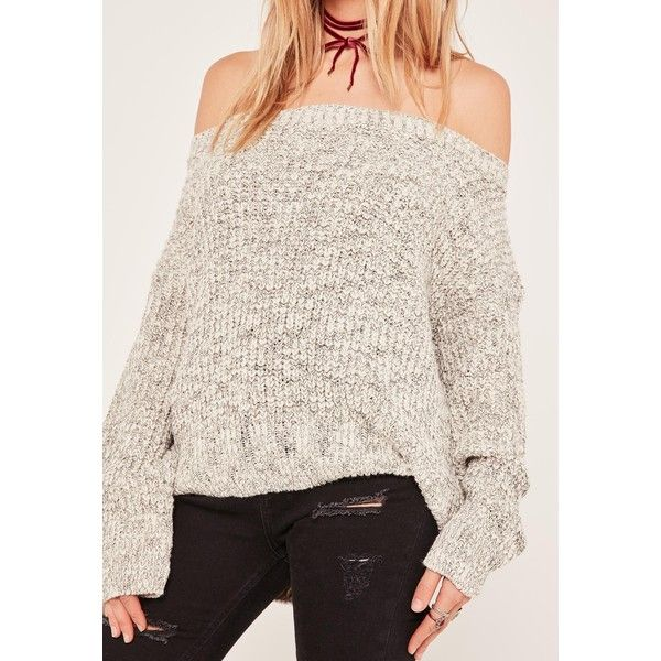 Missguided Grey Bardot Chunky Fisherman Stitch Jumper (5300 RSD) ❤ liked on Polyvore featuring tops, sweaters, gray jumper, chunky grey sweater, grey jumper, gray top and jumper top