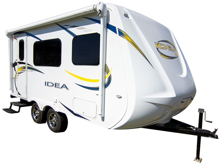 The Travel Lite Idea i15Q is a travel trailer that can be towed with any 6-cylinder vehicle. The base weight is 2,970 pounds.