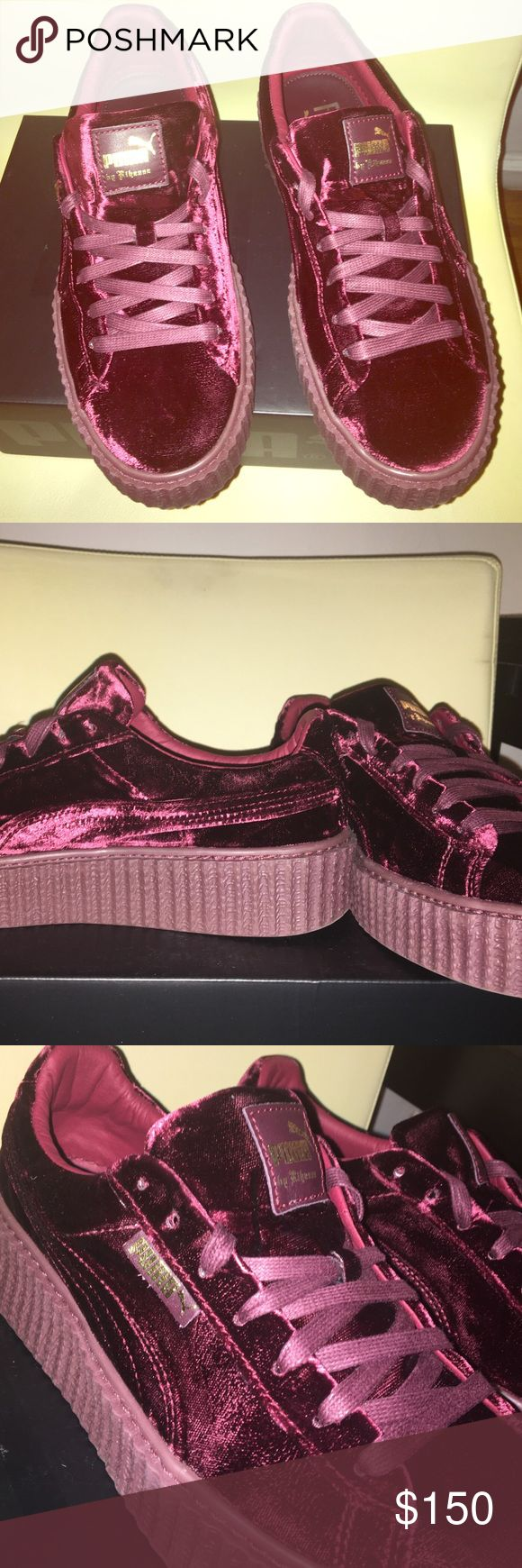 Brand New Puma Fenty Burgundy Velvet Creepers Brand New! Purchased, Tried on, but never worn out. Includes the original box and velvet bag. Currently sold out everywhere. Puma Shoes Sneakers