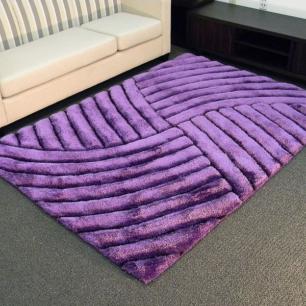 3D Shaggy-800 Abstract Wave Purple Area Rug (5' x 7') - Free ...
