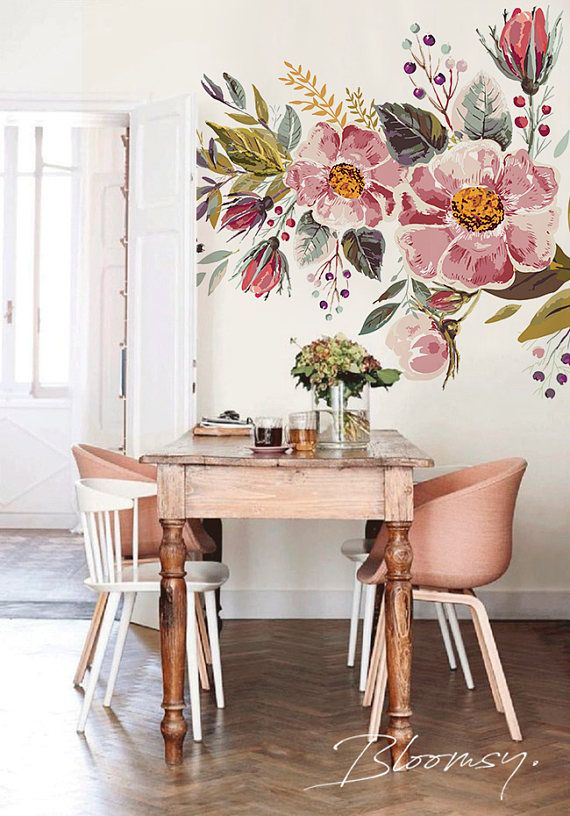 Removable wallpaper – Vintage Field Flowers Mural Wallpaper – Floral Wallpaper – Watercolor Wallpaper – Temporary Wallpaper, Wall Mural #103