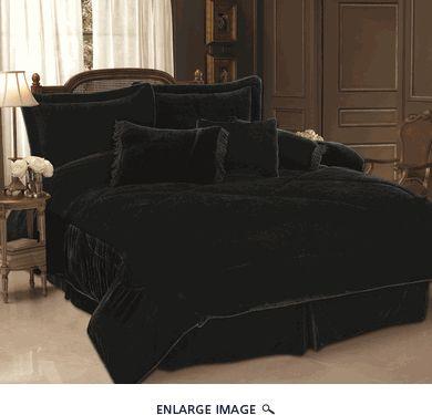 7 Piece Cal King Black Velvet Comforter Set