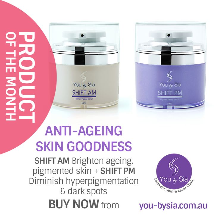 ANTI-AGEING GOODNESS:  SHIFT AM - Brighten ageing, pigmented skin with a complex of advanced vitamins, minerals and antioxidants. SHIFT PM - Diminish hyperpigmentation and dark spots with this potent, active serum.  BUY NOW https://goo.gl/iAEWzJ ‪#‎skinpigmentation‬ @YouBySia