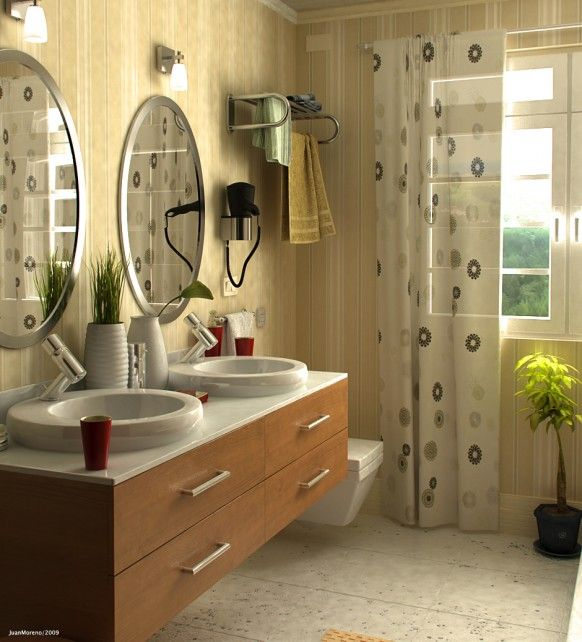Bathroom: Contemporary Bathroom Ideas With Neutral Tones Together With Wall  Mounted Wooden Vanity Units Also Twin Basins Plus Floral Curtains Design  Ideas: ...