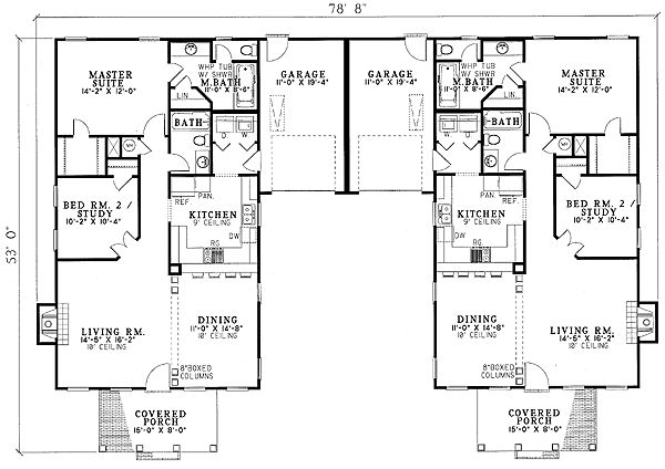 Southern Traditional Duplex Home Plan - 59320ND | 1st Floor Master Suite, CAD Available, Den-Office-Library-Study, PDF | Architectural Designs                                                                                                                                                                                 More