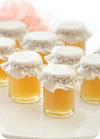 """Fall Wedding Favours- small jar filled with homey with a small tag that says """"meant to bee"""""""