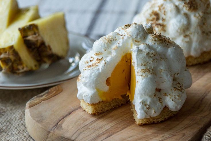 Akis Petretzikis' Baked Hawaiian Islands recipe. Try this delicious, exotic Hawaiian recipe made with coconut cake, pineapple-brown sugar sorbet and topped with an Italian merin...