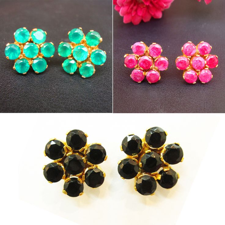 925#Sterling#Silver#Italy#Green#Black#Onyx#Ruby#Natural#Stud#Earring#For#Women#Free#Shipping  http://www.ebay.com/itm/-/112510812124?ssPageName=STRK:ME