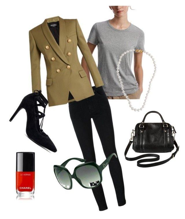 Khaki blazer look by riseandriseandrise on Polyvore featuring polyvore fashion style James Perse Balmain Yves Saint Laurent Jeffrey Campbell Merona Mikimoto Chanel clothing