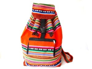 South American Backpack, Aguayo Andean Peruvian Fabric Backpack Rucksack