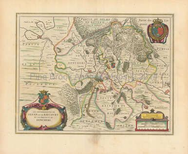 Authentic Sedan Charleville-Mezieres France Antique Map Blaeu 1650 for sale. Great for French Decor, Gifting or Collection. Learn more!