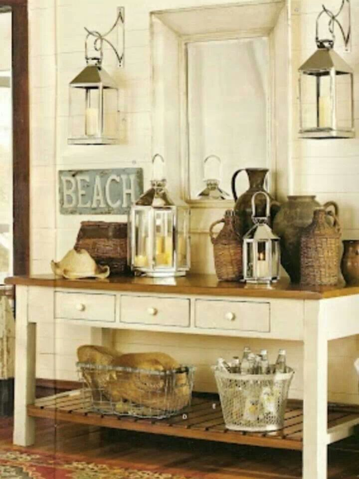 Many Beachy Accents At An Entryway Table Love The Lanterns Beach