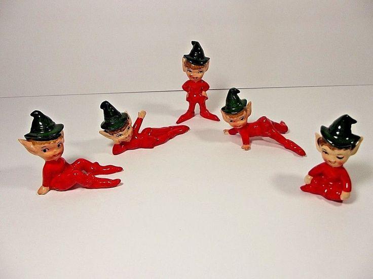 Vintage Ceramic Christmas ELF / PIXIE Figurine Lot of 5 ARTMARK Japan ! Nice!
