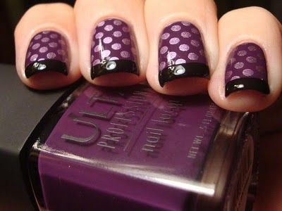 Grandpa said we could practice on his toes and learn how to do this. Isn't he swell?: Nails Art, Funky French, Chloe Nails, Nails Design, Anyon 2 Konad, Polka Dots Nails, Purple Nails, Purple Polka, Konad Funky