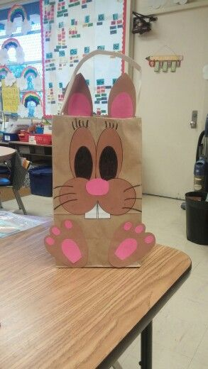Made an easter bunny basket out of a brown paper bag for Brown paper bag crafts for preschoolers