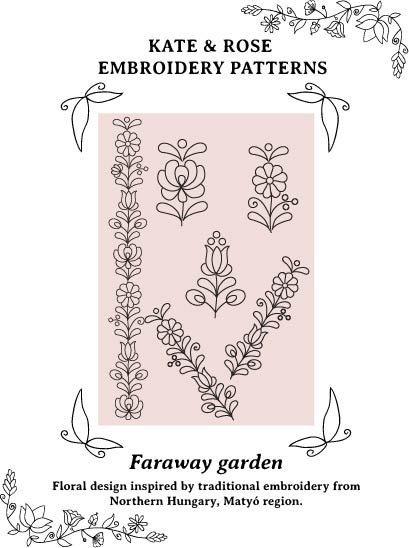 PDF embroidery pattern Matyó floral motifs