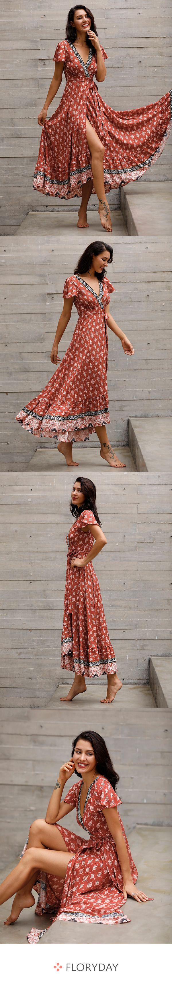 Maxi-Kleider mit kurzen Ärmel und Blumenmuster – Dresses
