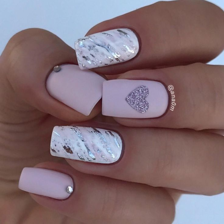 Adorable pink, white and silver heart nail art