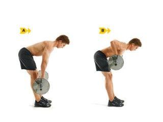 5) REMO INCLINADO CON BARRA Músculos implicados: Bíceps, espalda y core  2 o 3 series de 8 a 12 repeticiones cada una