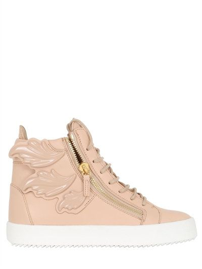 GIUSEPPE ZANOTTI DESIGN - 20MM EMBOSSED LEAFS LEATHER SNEAKERS - NUDE