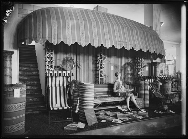 """Window display, 1920s-1930s, Grace Bros. Ltd, """"The Big Store on Broadway"""". It boasted three and half acres of furniture"""