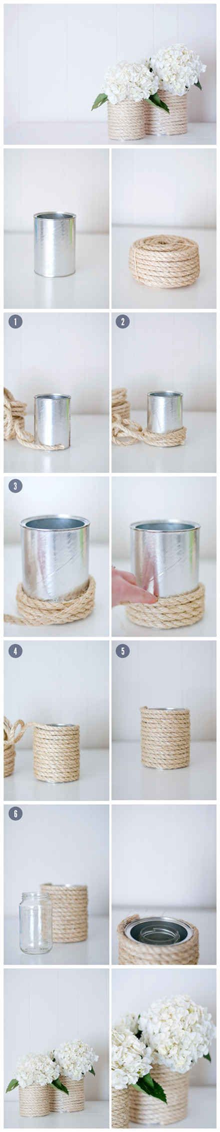 Rope Vase - lovely centerpiece | 33 DIY Gifts You Can Make In Less Than An Hour