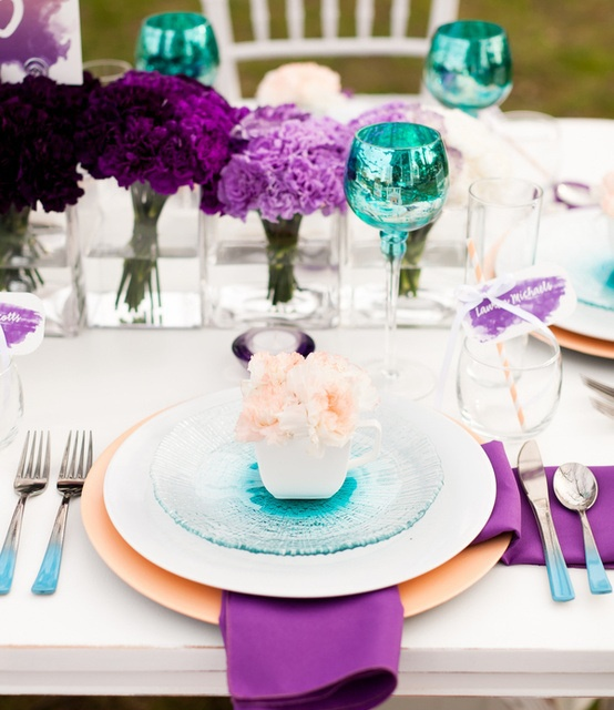Purple and teal table setting - Maybe get teal glasses like this for the wedding party table?