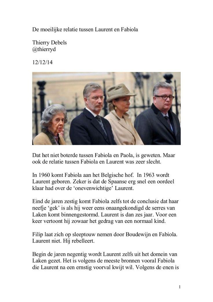 De moeilijke relatie tussen Laurent en Fabiola by Thierry Debels via slideshare