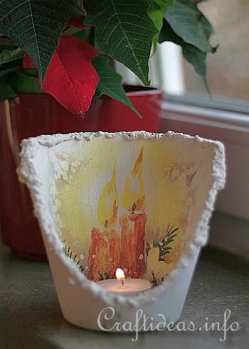 Christmas Craft - Flower Pot Tea Light Holder (I wish they told how to cut the flower pot, tho)