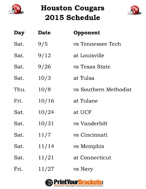 Printable Houston Cougars Football Schedule 2015