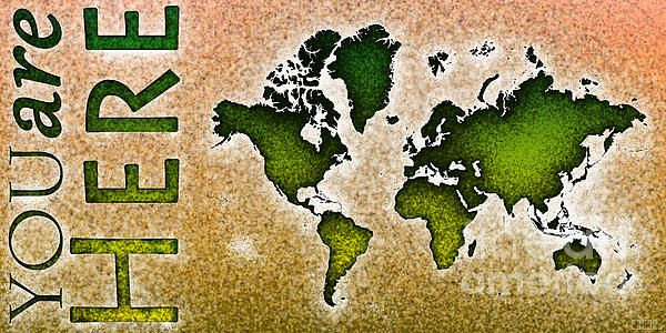 World Map Novo Panoramic with 'You Are Here' text In Green And Orange by elevencorners. World map art wall print decor. #elevencorners #mapnovo