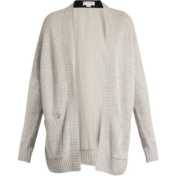 Amanda Wakeley Larson contrast-panel cashmere cardigan (1.685 BRL) ❤ liked on Polyvore featuring tops, cardigans, grey, lightweight cardigan, gray top, amanda wakeley, grey open front cardigan and lightweight open front cardigan
