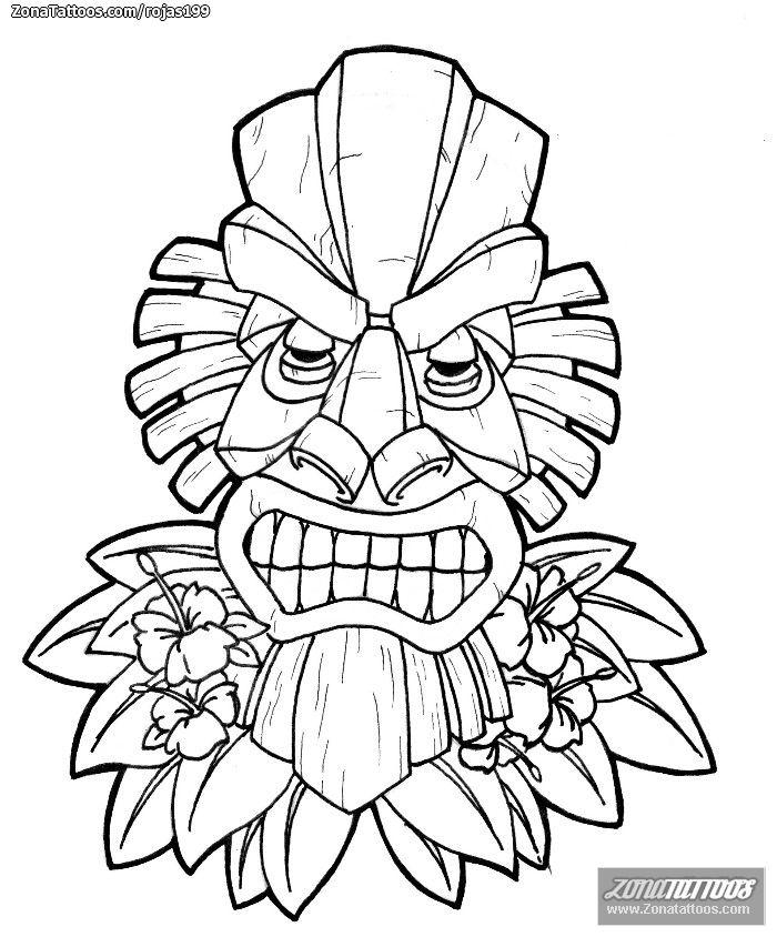 tiki hawaiano dibujo para colorear - Buscar con Google