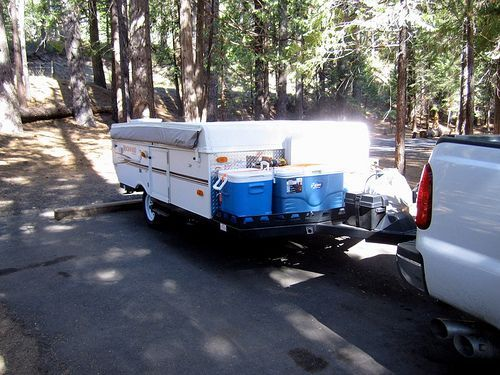Store the cooler(s) on the outside of the camper! ...And other ways to organize a tent trailer.