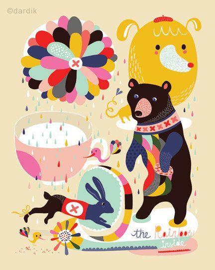 Inside the Rainbow: Helendardik, Illustrations, Bears, Rainbows, Inside, Poster, Graphics, Cute Illustration, Helen Dardik